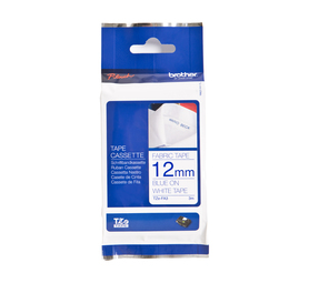 BROTHER 12mm TZE-FA3 Iron-On Fabric Tape Blue on White 12mm