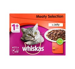 Whiskas Cat Food Multipack Pouch Meat in Jelly (12 x 85g)