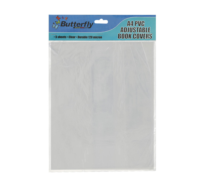 Butterfly A4 PVC Adjustable Book Covers Clear 120 Micron 5-Pack