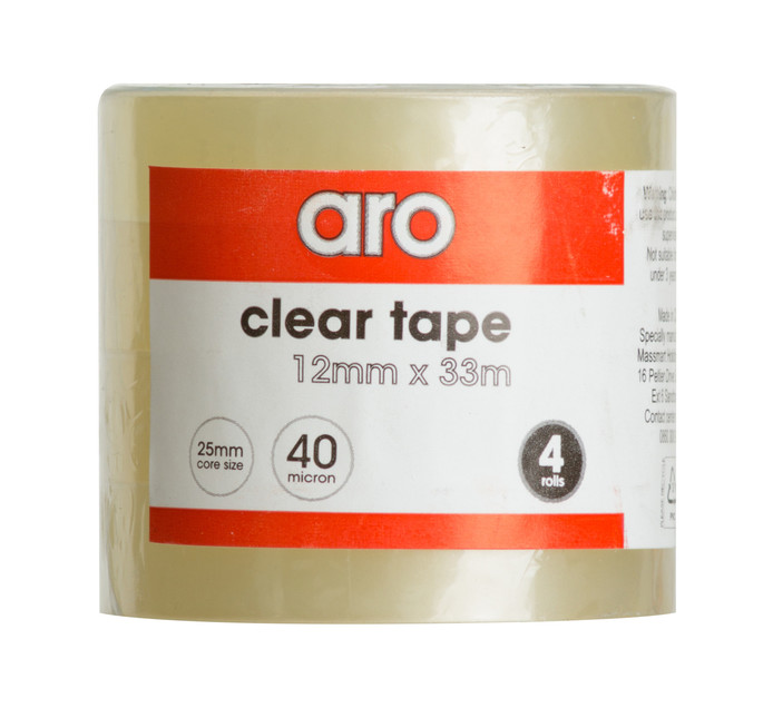 ARO 12mm x 33mm Clear tape 4 Pack Clear