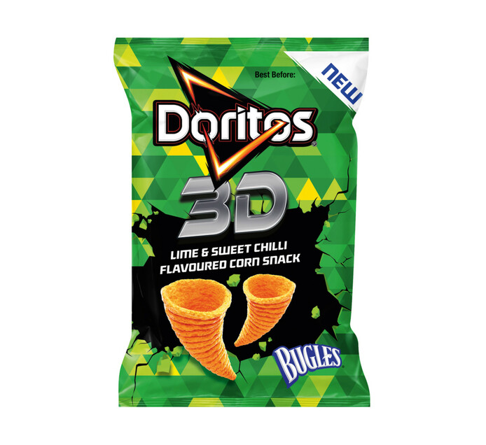 Doritos 3D Bugles Corn Chips Lime and Sweet Chilli (1 x 35g)