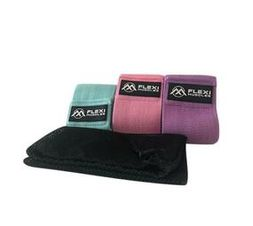 Flexi Muscles - Resistance Bands for Legs and Butt, Fabric Workout Loop Bands, Set of 3.