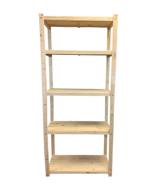 Single Bay Wooden Bolted Shelving Unit 5 Levels to the Height 2100mm H x 900mm W x 400mm D