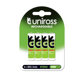 UNIROSS 4 Pack AAA Hybrio Rechargeable Batteries