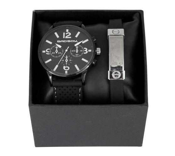 Bad Boy Watch - Resin Strap & S/S Bracelet Set [Black]