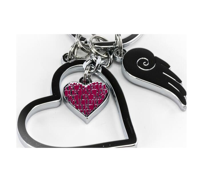 Troika Key-ring with 3 Charms Love Is In The Air Silver