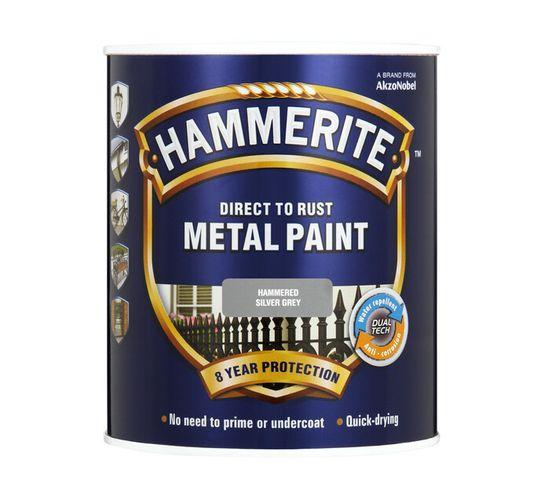 Hammerite 500 ml Metal Paint Hammered Finish Grey