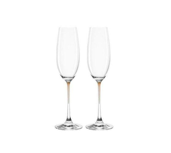 Leonardo Clear Champagne Glass with Chestnut Brown Stem LA Perla Set of 2