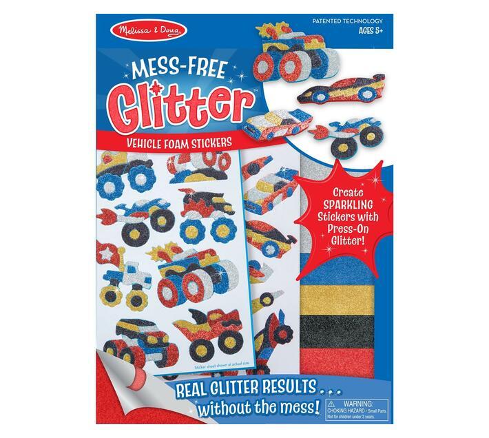 Mess free glitter vehicle foam stickers