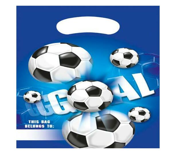 FOOTBALL BLUE PARTY BAGS 6CT