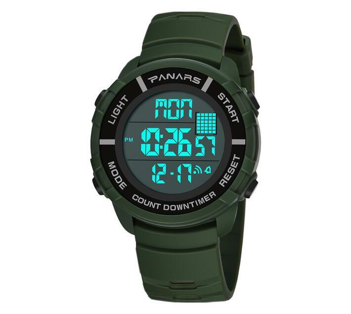 PANARS Digital Watch Countdown Timer Clock 8107 Green