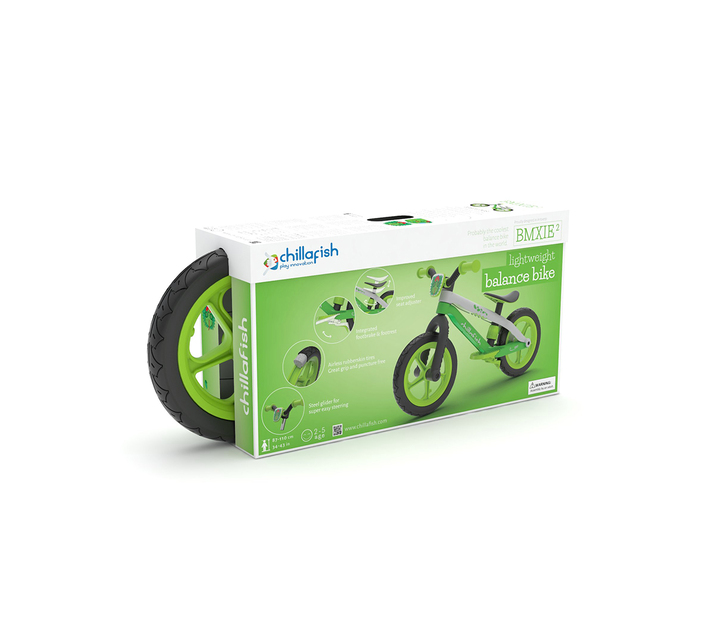 Balance Bike Chillafish Bmxie² 12'' Lightweight trainer with Footbrake for Kids Ages 2 -5,Airless RubberSkin Tires, Adjustable Seat Without Tools ,Real BMX/MTB designed bicycle frame, LIME