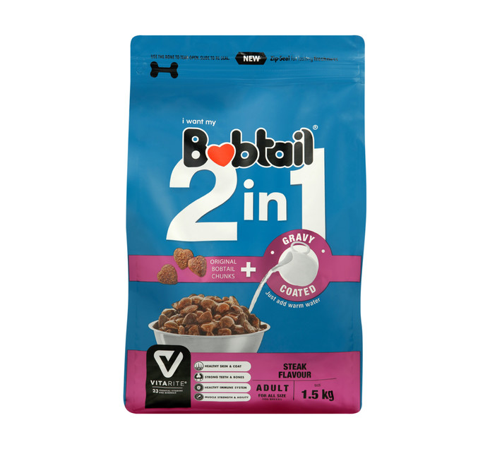 Bobtail 2 IN 1 Dry Dog Food Adult Gravy Coated Steak Chunk (1 x 1.5kg)