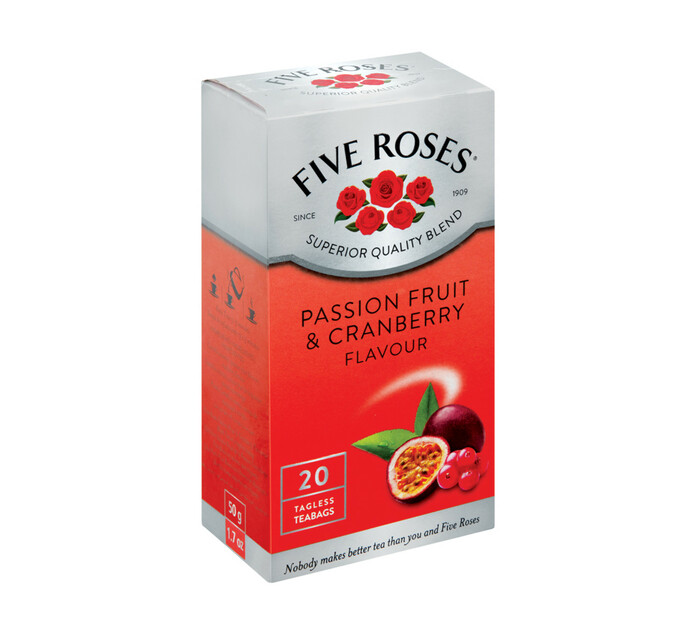 Five Roses Teabags Passion Fruit And Cranberry (1 x 20's)