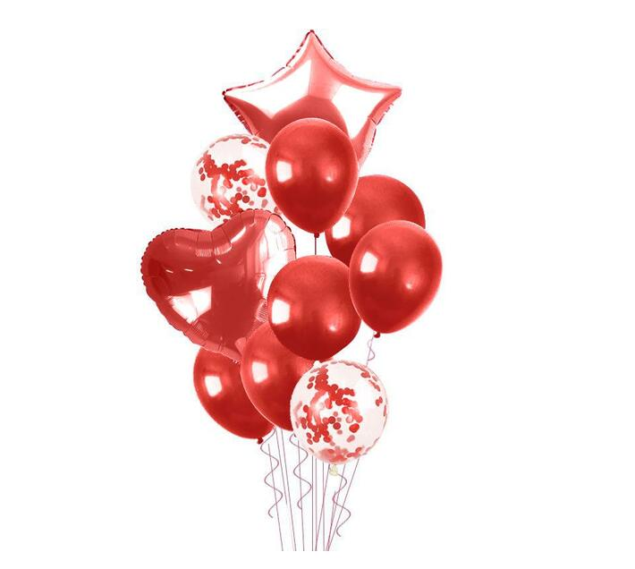 Bubblebean- Red Bunched Party Helium Balloons - 10 Piece