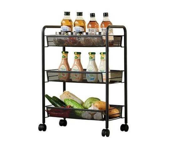 3-Tier Rolling Trolley Storage Rack Organiser - Black