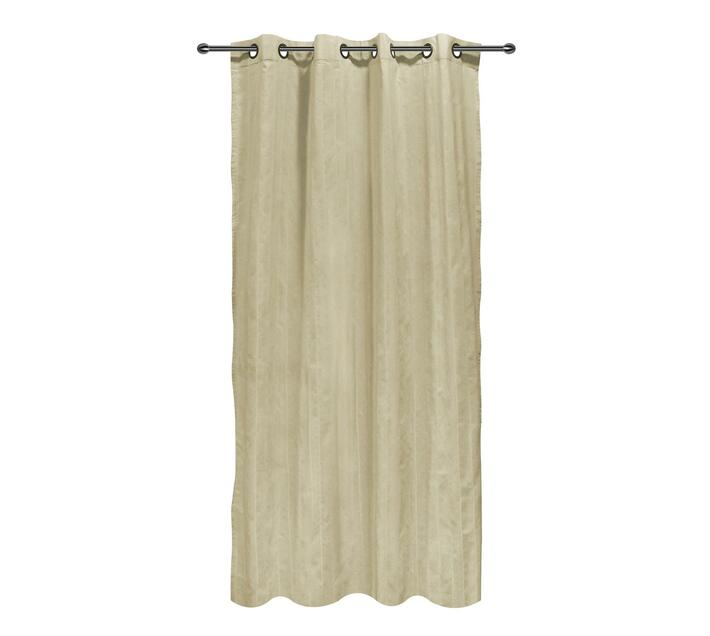easyhome Nostos Striped Solid Eyelet Curtain Beige 140 x 270cm