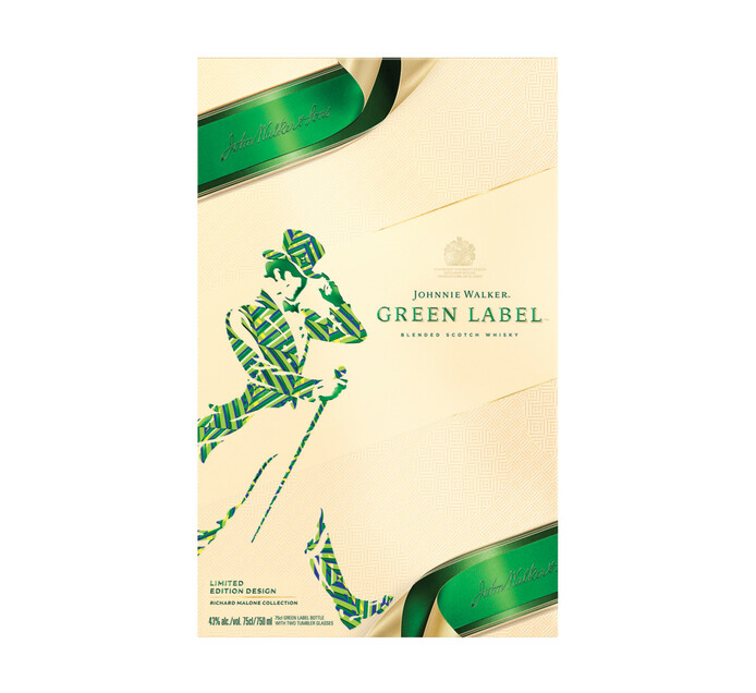 Johnnie Walker Green Label 15YO Scotch Whisky and 2 Glasses in Giftpack (1 x 750ml)