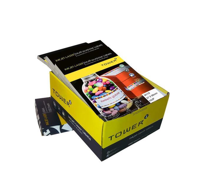 A4 Inkjet - Laser Labels - W119 - 57x99.1mm - 10 UP - 100 Sheets