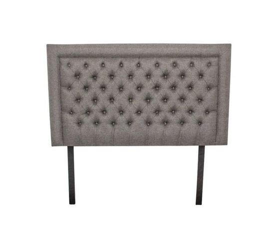 Nadine Headboard - Double/Queen - Grey Fabric Covered Buttons