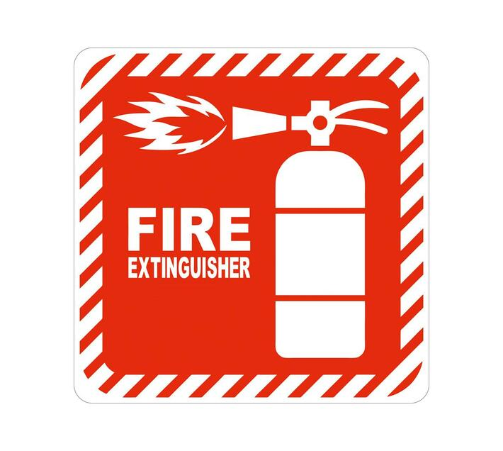 PARROT PRODUCTS Red Fire Extinguisher Symbolic Sign on White ACP (150 x 150mm)