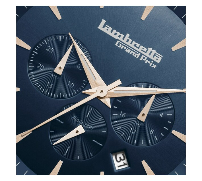 Lambretta Mens Watch With Leather Rose Gold Blue Brown