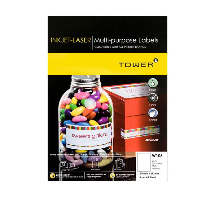 Tower A4 W106 210x298mm Inkjet Laser Labels Each