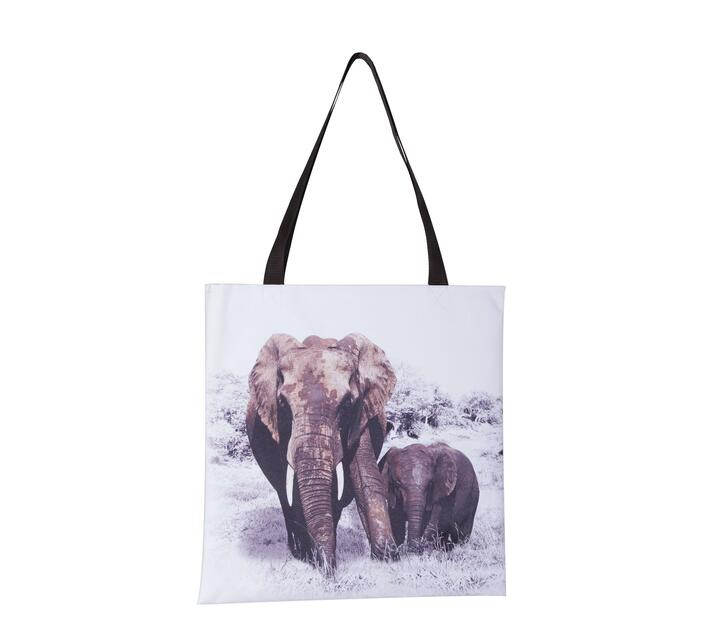 Tote Bag with two Elephant wildlife print.