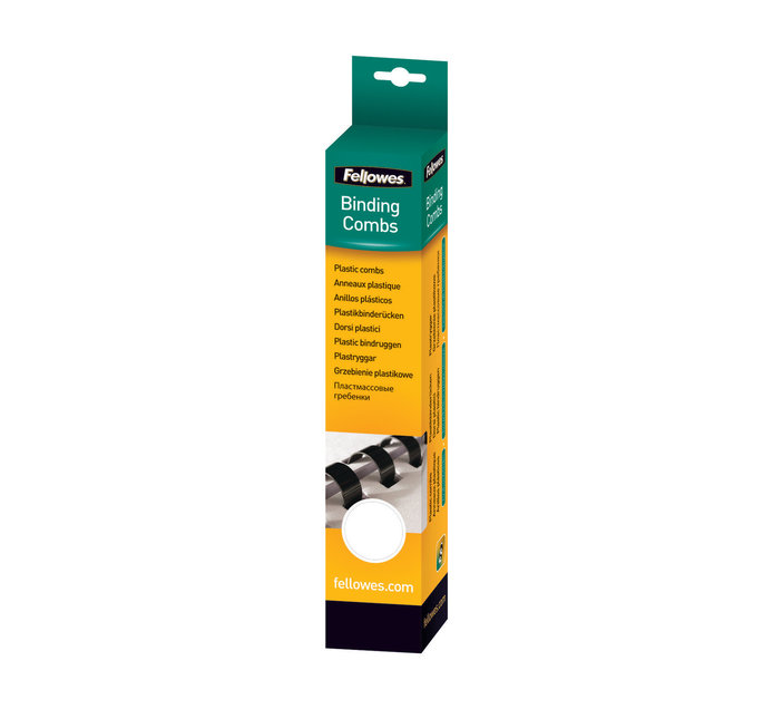 Fellowes 8mm 8MM COMB WHITE RETAIL 25PK
