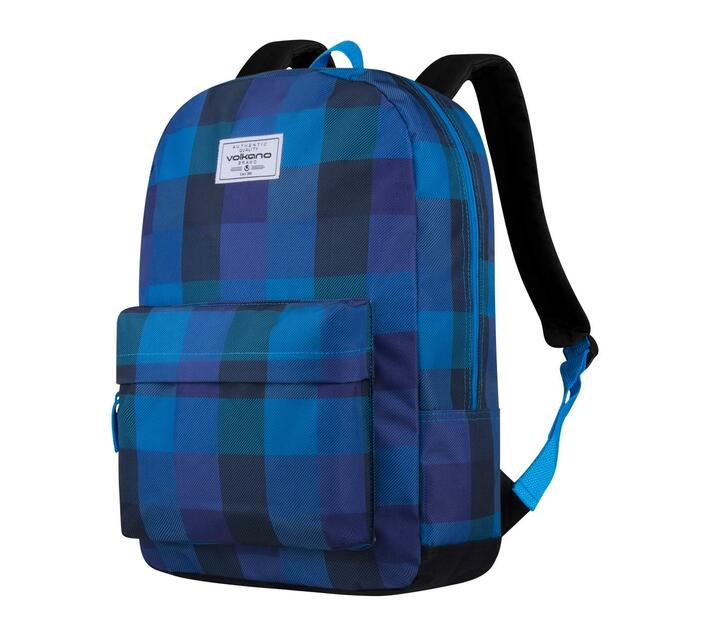 Volkano Diva Series 15.6` Backpack in Checkered Blue with Elasticized Laptop Compartment and Adjustable Shoulder Straps