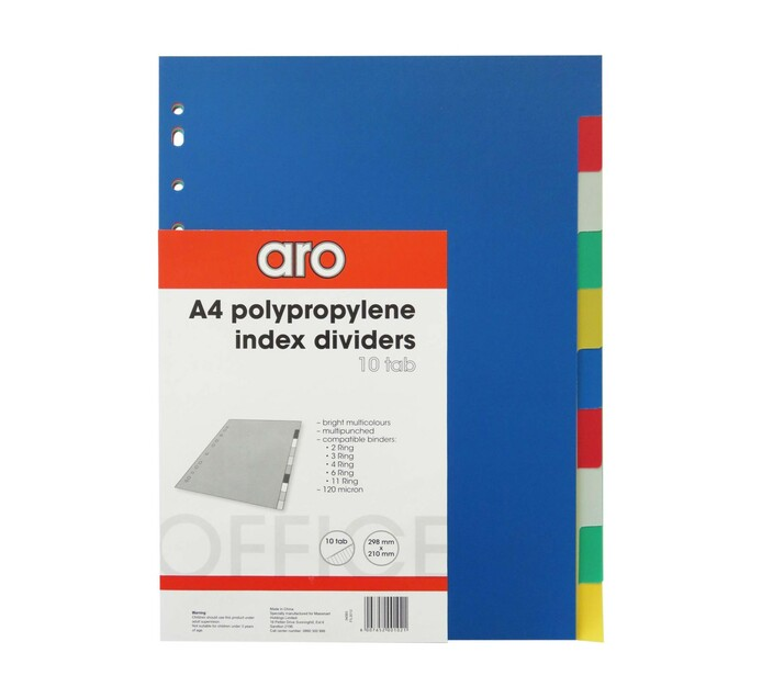 ARO A4 1-10 Tab File Dividers Assorted 10-Part