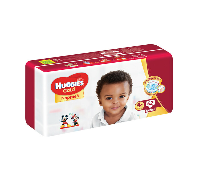 Huggies Jumbo Unisex Gold Disposable Nappies Size 4+ (1 x 62's)