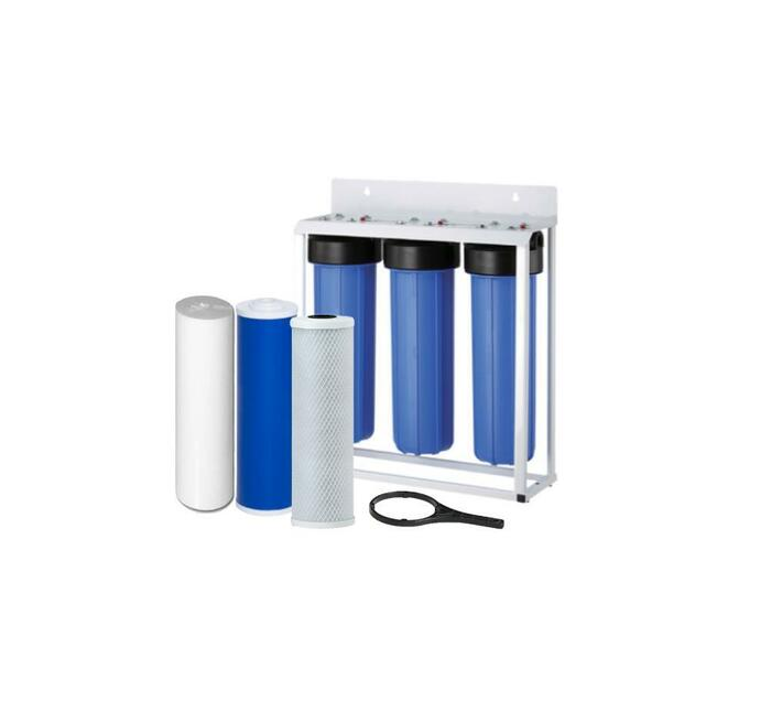 Water Filtration System - 3 Stage 20 inch Big Blue Housings and Filters on Frame