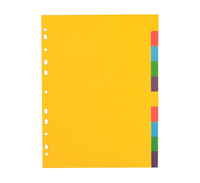 ARO 10 Tab File Dividers Bright Board 5 Pack