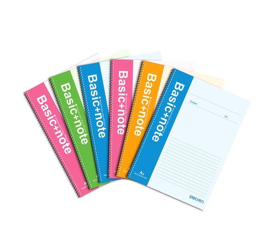 Deli Stationery Wire Bd. Softcover Notebook 100P-A4 Asst.