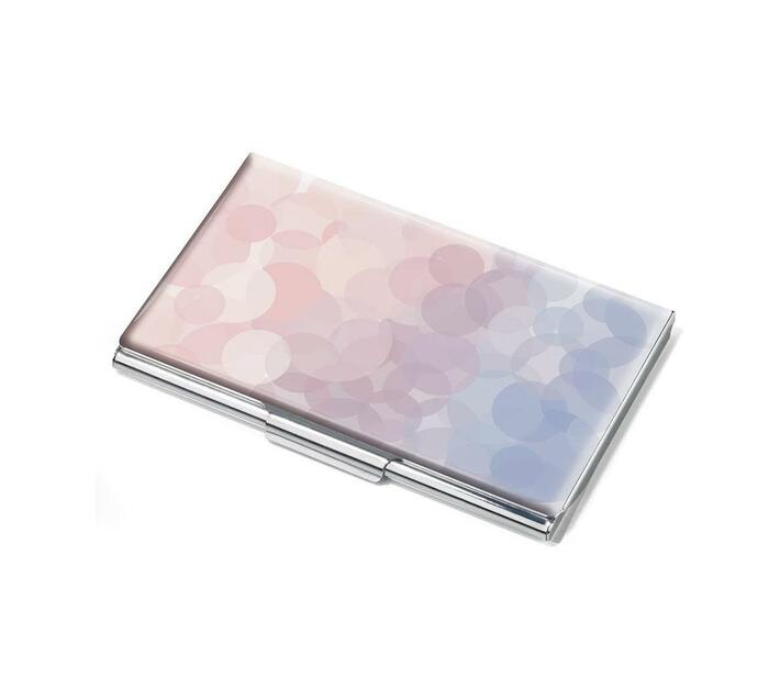 Troika Business Card Case Metal with Serene Rose Quartz Motif