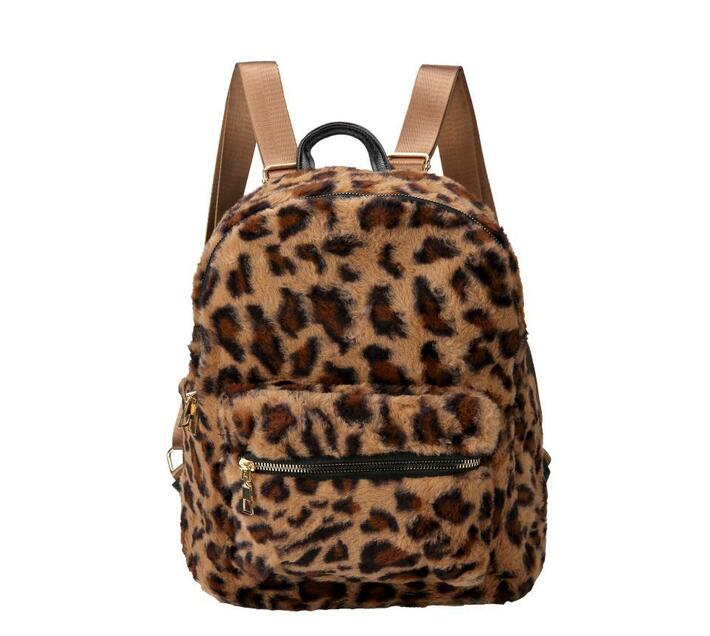 Faux Leopard Fur Backpack - Brown