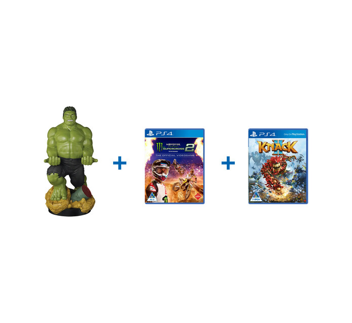 PS4 Cable Guy: Hulk XL plus Knack plus Monster Energy Supercross