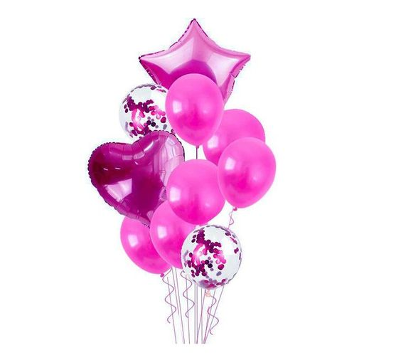 Bubblebean- Dark Pink Bunched Party Helium Balloons - 10 Piece