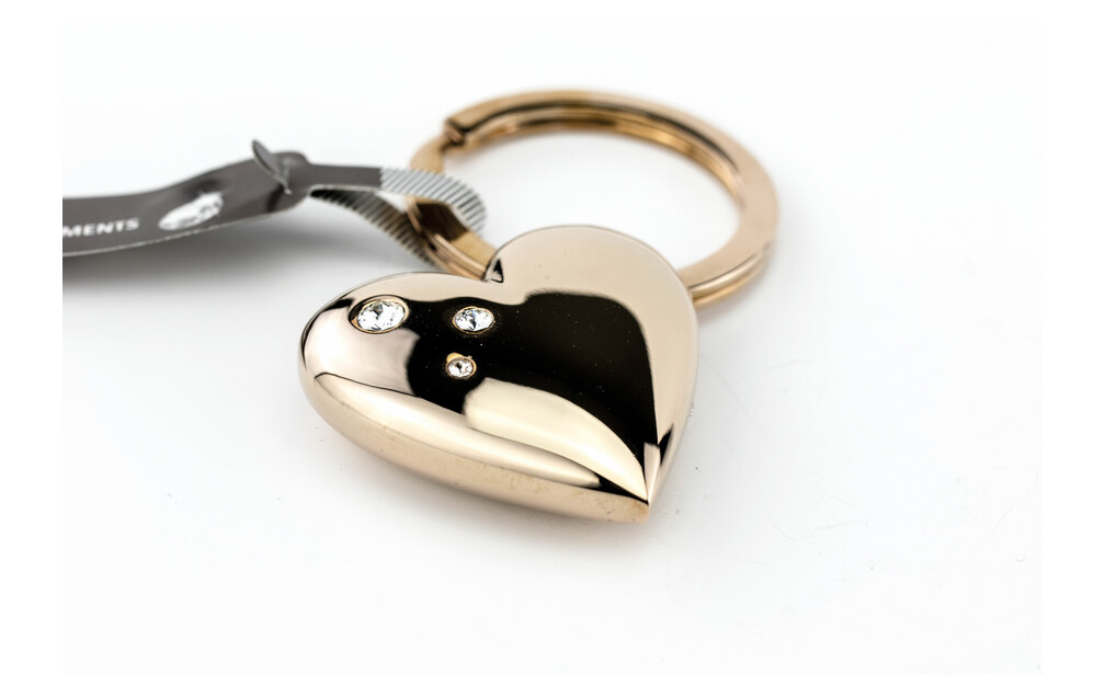 Troika Key-ring Heart Rose Gold with Swarovski Crystals