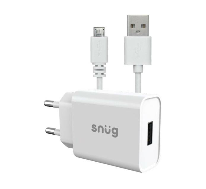 Snug 1 Port 2.1AMP Charger + Mirco USB Cable White