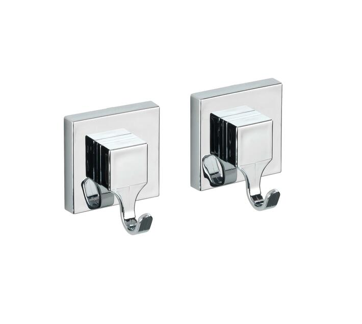 WENKO Vacuum-Loc Wall Hook Quadro Range - Set Of 2 - No Drilling Required