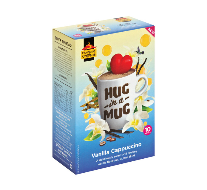 House Of Coffees Hug in a Mug Cappuccino Vanilla (10 x 24g)
