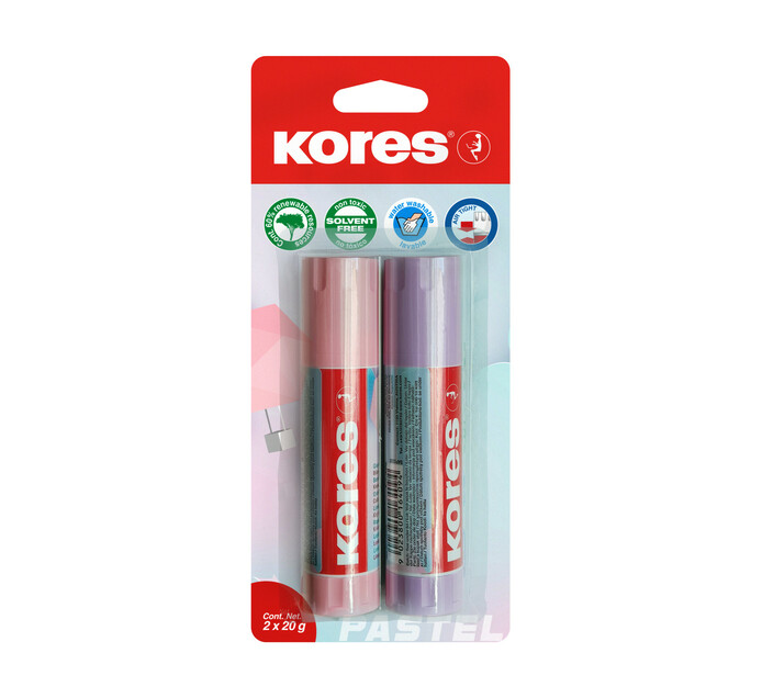 Kores 20g Pastel Glue Stick 2 Pack