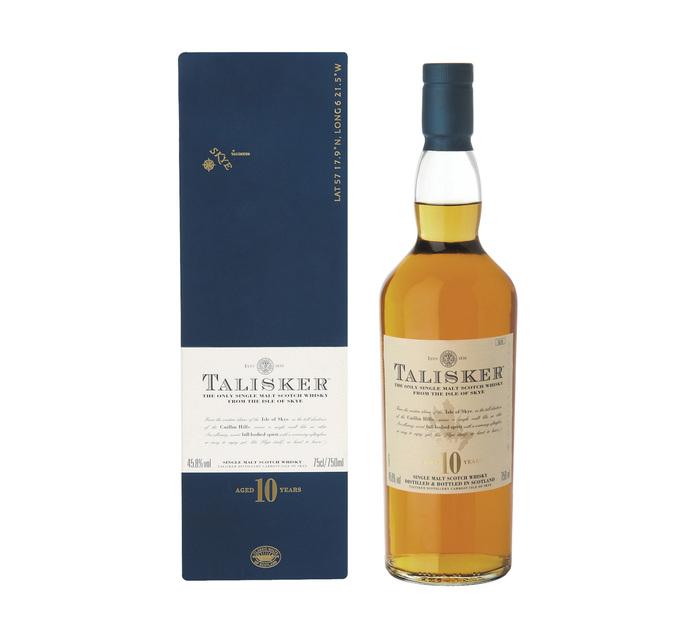 Talisker 10 YO Single Skye Islay Malt Scotch Whisky in Gift Box (1 x 750 ml)