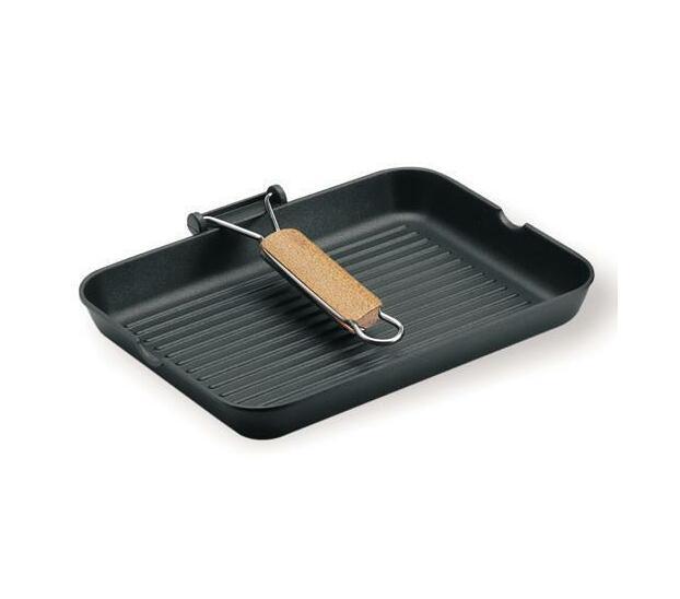 Risoli La Gratella Grill Pan with folding wooden handle and diamond coating base 26x26cm