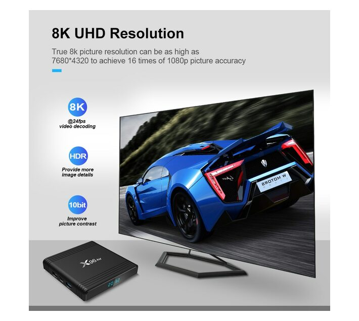 Ntech X96 Air Smart Android TV Box with i8 Keyboard Remote - 2GB RAM