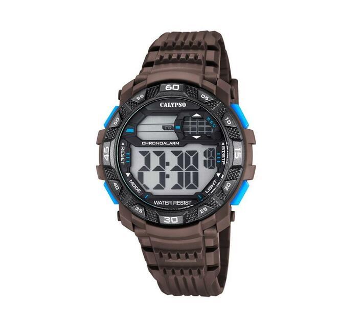 Calypso Digital Mens Sports Chrono Alarm Watch - Brown