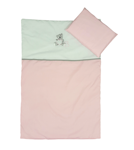 3 Piece Cot Linen Set - Grey Teddy & Pink Hearts