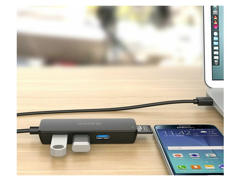 Orico 3 Port Usb3.0 Hub With Tf And Sd Card Reader Black
